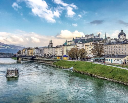 Salzburg-- view along the Salzach River